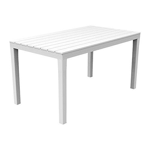 FineHome Gartentisch Kunststoff rechteckig Balkontisch Gartentisch Terrassentisch Weiß 138x80x72cm