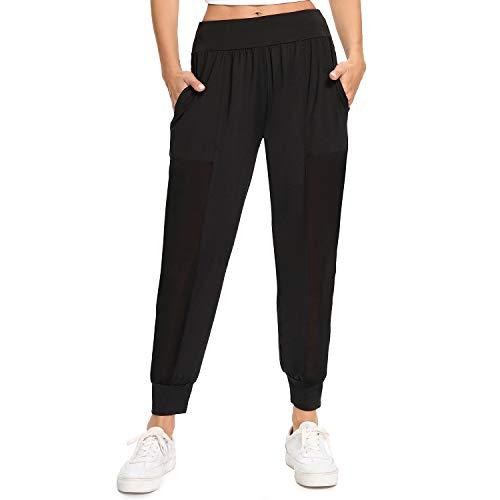 WOWENY Pantaloni Tuta Donna, Pantaloni Sportivi Donna Vita Alta Pantaloni Tuta Donna per Allenamento Fitness, Corsa, Yoga, Escursionismo, Palestra, Danza (Nero, XL)