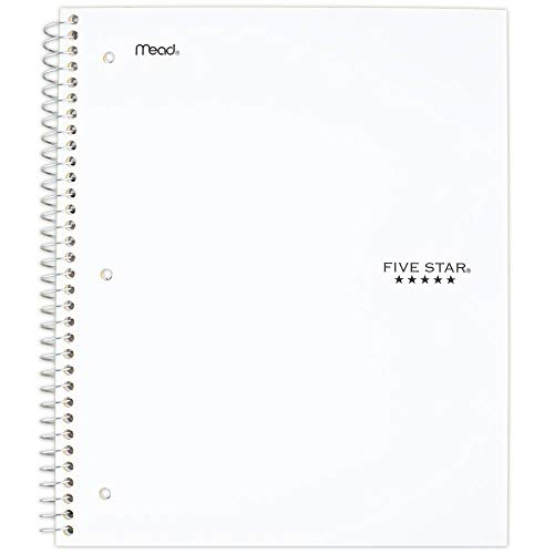 Five Star Spiral Notebook, 3 Subject, Wide Ruled Paper, 150 Sheets, 10-1/2' x 8', White (72466)
