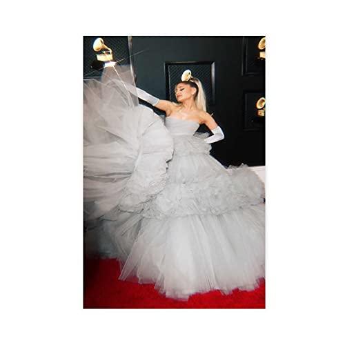 NANMU Ariana Grande vestido de novia cantante americano cantautor y actor 1 póster de lona para decoración de dormitorio, paisaje, oficina, habitación, regalo de 50 x 75 cm. Unframe: