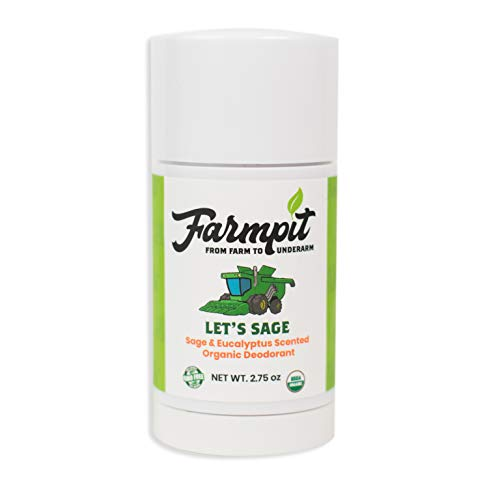 Farmpit All Natural Deodorant - USDA Certified Organic - Aluminum, Paraben, Propylene, Gluten, Cruelty and Baking Soda Free - for Men or Women - Stay Fresh All Day (Let's Sage)