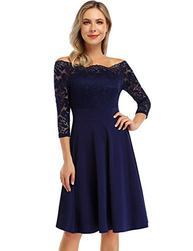 KOJOOIN Damen 1950er Vintage Brautjungfernkleider für Hochzeit Kurzes A-Linie Abendkleider, Dunkelblau (Off Schulter)-langarm, Gr.- M/38-40