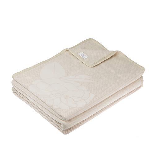 LANEROSSI - Decke für Doppelbett, 220 x 250 cm, 5 % Kaschmir, 95 % extrafeine Merinowolle, weiß/beige floral