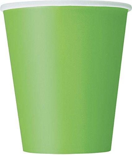 Unique Party- Paquete de 14 vasos de papel, Color verde lima, 266 ml (31426)