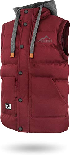 normani Outdoor Sports Wattierte Steppweste Bodywarmer - 100{ff7b214c616b29508359ddfffa847855e7282cb9ae1557e24630de8a46861d4f} Winddichte Outdoor Weste mit Lederpatch, Kapuze und Stehkragen Farbe Bordeaux Größe L/52