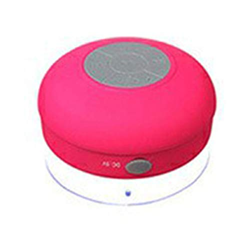 Morninganswer Portátil Inalámbrico IPX4 Altavoz de Ducha Impermeable Manos Libres Micrófono de succión Coche Baño Transmisión de Audio inalámbrica Rojo