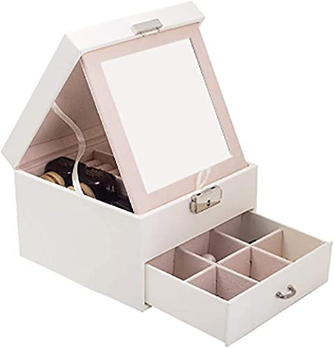Joyero de doble capa, portátil, organizador de escritorio, para pintalabios, anillos, collar, color rosa y blanco