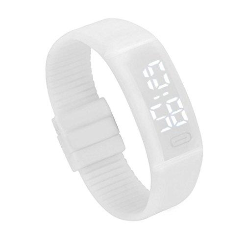 Amlaiworld LED Watch,Unisex in Gomma Orologio LED Data Sport Orologio Digitale da Polso (Bianco)
