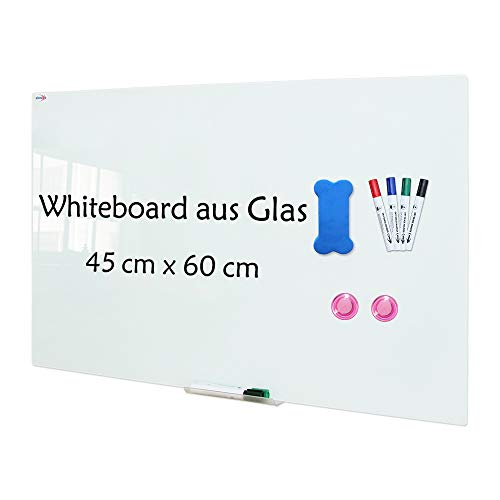 XIWODE Magnettafel aus glas, Whiteboard, Magnetwand, beschreibbare und magnetische Whiteboard, Pinnwand Tafel mit Sicherheitsglas, 60x45cm