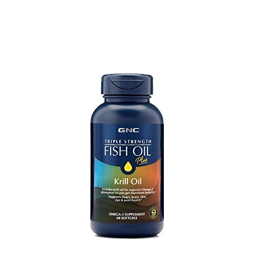 Price comparison product image GNC Triple Strength Fish Oil Plus Krill Oil,  60 Softgels,  for Join,  Skin,  Eye,  and Heart Health