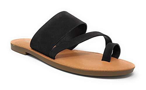 Soda Joan Womens Open Toe Slip On Flip Flop Sandals (Black, numeric_7)