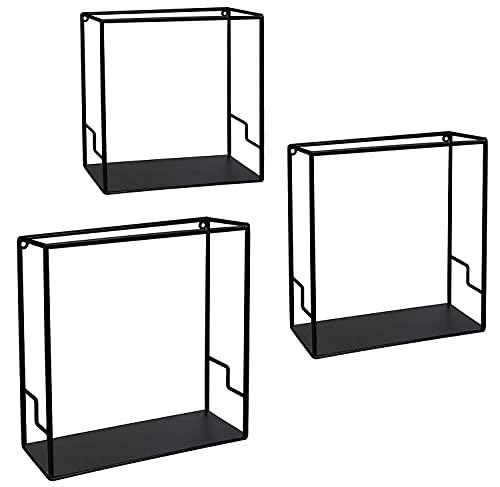 Stonebroo Cubo Estantes de Pared Metálicos, Juego de 3 Estantes Flotantes, 32/30/28cm, para Sala de Estar, Cocina, Dormitorio, Baño, Negro LBJ11B