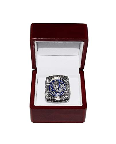 DALLAS MAVERICKS (Dirk Nowitzki) 2011 NBA FINAL WORLD CHAMPIONS (Vs. Miami Heat) Rare Collectible Replica National Basketball Association Silver Championship Ring with Cherrywood Display Box