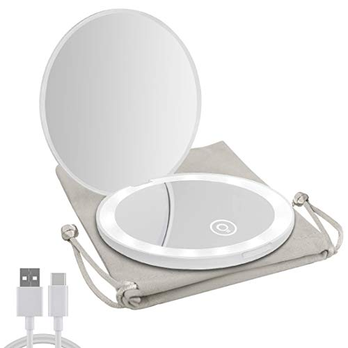 Milishow Compact Mirror with LED Light,1x/10x Magnifying Rechargeable Mirror,Dimmable Travel Mirror for Purse,Handbag,Pocket,Handheld 2-Sided Makeup Mirror (White)