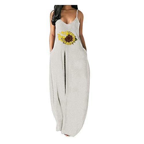 CANTOB Women Dresses Sleeveless Sling V Neck Maxi Dress Casual Summer Sundress Beach Dress(A6-White,L)