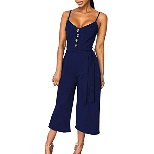 FRAUIT Jumpsuit dames knoop schouder mouwloze romper, overall met bovendeel + riem flare-broek vrije tijd reizen masquerade festival party winkel