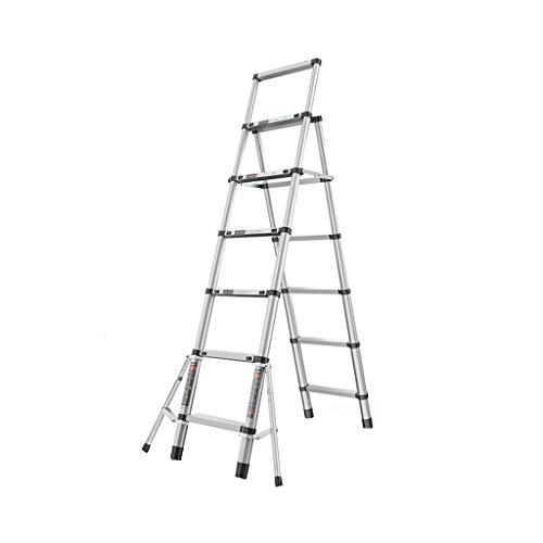 GYL Scala Multiuso Lega di Alluminio Telescopica Scala, Folding Extension Ladder A-Frame con Stabilizzatore Bar, Multi Purpose (capacità di Carico 150 kg) (Size : 6-Step Ladder)