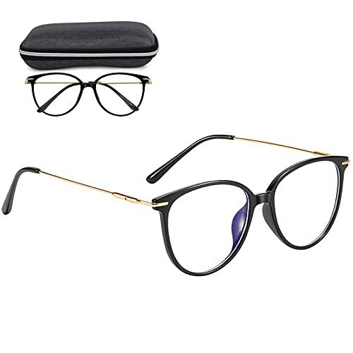 Blaulichtfilter Brille Computerbrille,Bildschirm-Brille Anti UV Blaue Licht Blockieren Brille,Verringerung der Augenbelastung Anti Schwindlig Glasses mit Brillenetuis und Brillenputztuch (SCHWARZ)