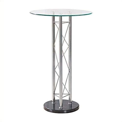 Global Furniture Bar Table, Clear/Black/Chrome