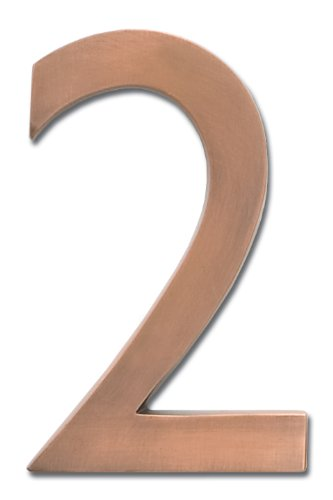 Architectural Mailboxes 3585AC-2 Brass 5-Inch Floating House Number 2, Antique Copper
