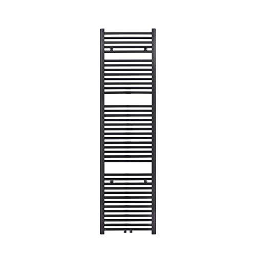 VILSTEIN Badheizkörper, Flach, Schwarz, Seitenanschluss und Mittelanschluss, 1800x450 mm
