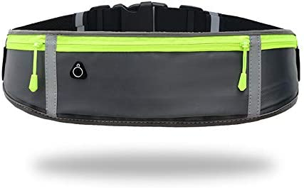 Slim Fit Jogging Belt with Three Bounce-free Zip Pockets Fanny Pack for Workouts Gray Reflective Strips Sports. Running-Waist-Belts-with-Headphone-Hole Fits All Phone Under 6