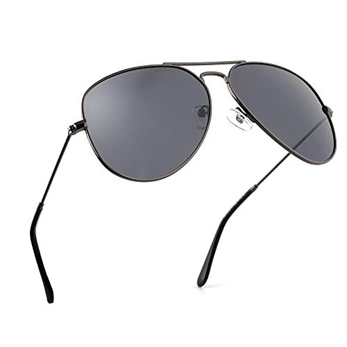 EFE Gafas de Sol Aviador Polarizadas de Retro y Moda para Mujeres y Hombres Unisex Protección UV400 Contra los Rayos Ultravioletas para Pesca Senderismo Conducir Libre Excursión Negro