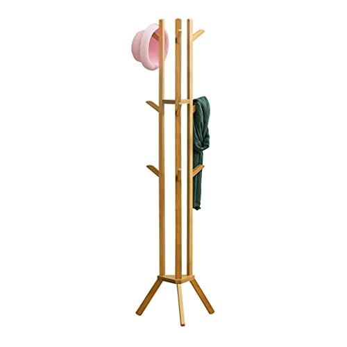 MQH Coat Rack Freestanding Suelo Ropa Soporte Entrada Ropa Hall Tree con 6 Ganchos para Sombreros Ropa Bolsas Sala de Estar (Color : Natural)