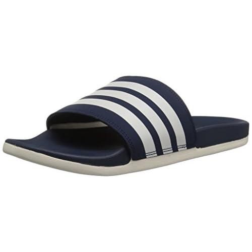 adidas Men's Adilette Comfort Slide Sandal Chalk White/Collegiate Navy, 4 M US