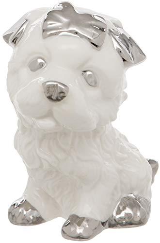 Maturi - Figura Decorativa de Perro de cerámica, Color Blanco