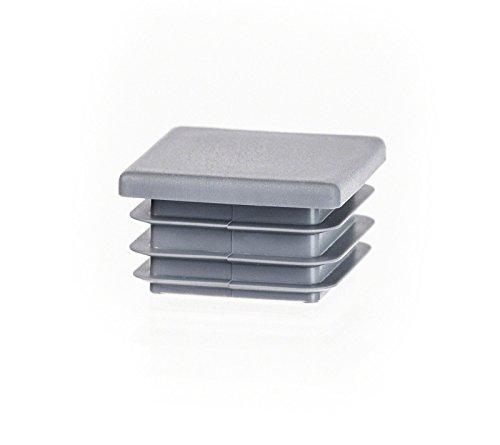 Bouchon pour tuyau carré 80x80 mm gris | 5 pcs. | plastique Capuchon Bouchons