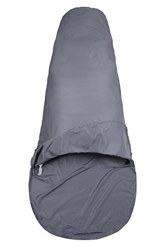 Mountain Warehouse Drap de Sac de Couchage Forme Momie en Polycoton -Drap de Voyage Facile à Transporter, hygiénique, Confortable - Parfait pour Le Camping en extérieur Gris Fer Taille Unique