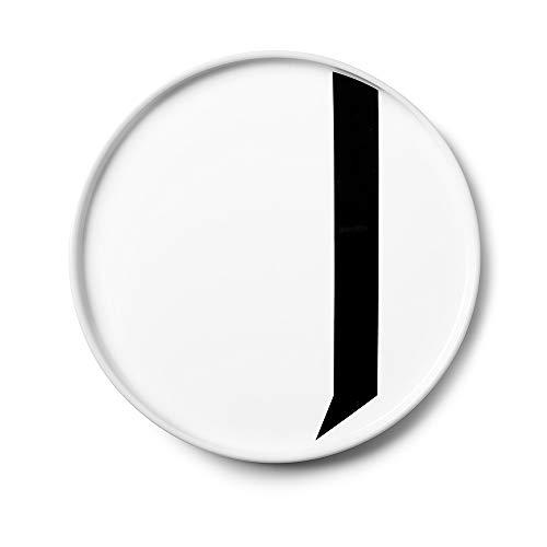 Design Letters Assiette Personnalisée en Blanc Porcelaine Fine de A-Z - J – Assiette Decorative, Idéal décorer, comme Cadeau Personnel, ou pour Les Repas, Compatible Lave-Vaisselle, D: 20cm