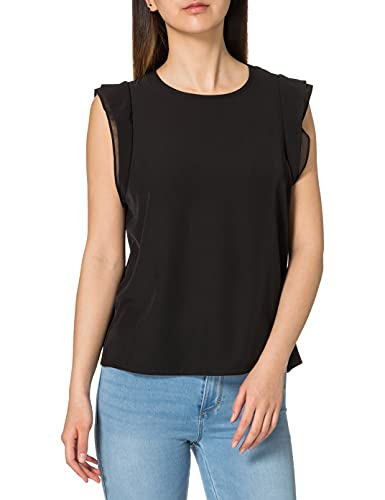 Vero Moda Vmodelia Cap Sleeve Top VMA Camiseta sin Mangas, Negro, XL para Mujer