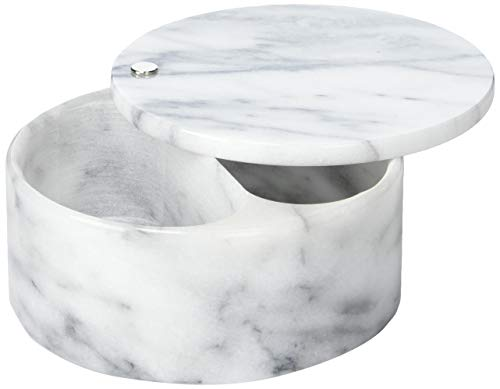 RSVP International Dual Compartment Box | Chic & Modern Herb Container | 10 Ounces Total | Swivel Top Protects Salts | Beautiful, Solid Marble, 5', White