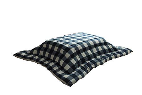 イケヒコ こたつ布団 長方形 オーブ 約205×245cm ネイビー チェック インド綿 シンプル #5192139