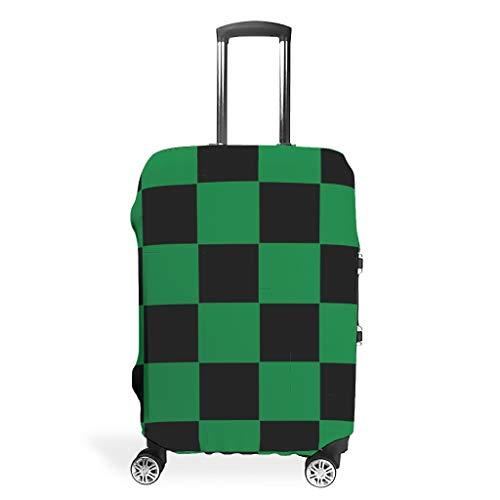 O2ECH-8 Bagagekoffer voor op reis - zwart en groen rooster 3D-print kofferhoes meermaten pasvorm beschermend koffer