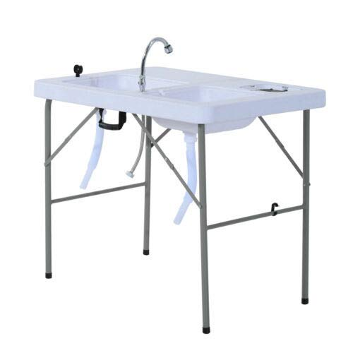 Compact Cookout Faucet Sink Bar HDPE Portable Folding Camping Kitchen Fruit Fish Cutting Cleaning Table Steel Frame Waterproof Fire Resistant