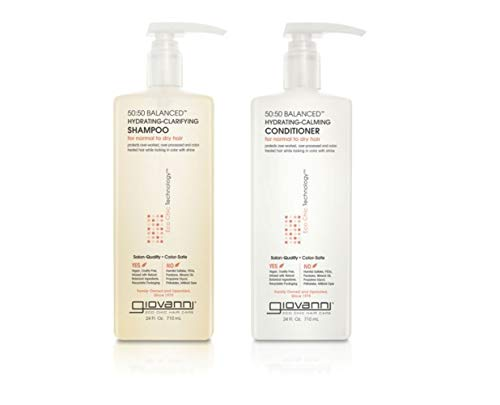 GIOVANNI 50:50 Balanced Hydrating Clarifying Shampoo & Calming Conditioner Set, 24 oz. Clean & Moisturize Hair, For Over-Processed Hair, Wash n Go, Can Use Daily, Sulfate Free, No Parabens, Color Safe