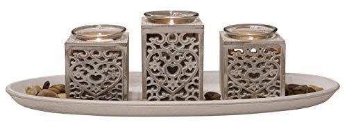 khevga Windlicht-Tablett aus Holz Grau Schwarz Weiß mit Herzen (Weiss)