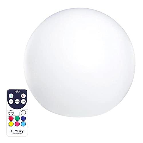 Boule lumineuse sans fil flottante LED multicolore dimmable BOBBY ∅50cm avec télécommande et socle à induction