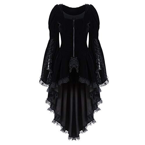 SALUCIA Damen Steampunk Gothic Kostüme Vintage Spitze Vokuhila Lang Jacke Mantel Festival Karneval Fasching Verkleidung Festtagskleidung