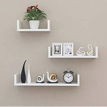 Unique Wooden Handicrafts Wooden Wall Rack Shelves White Set of 3 Shelves (4 x 16 x 4, 4 x 12 x 4, 4 x 8 x 4 inches) Home Decoration Wall Decor