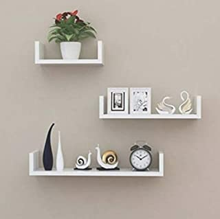 Unique Wooden Handicrafts Wooden Wall Rack Shelves White Set of 3 Shelves (4 x 16 x 4, 4 x 12 x 4, 4 x 8 x 4 inches) Home ...
