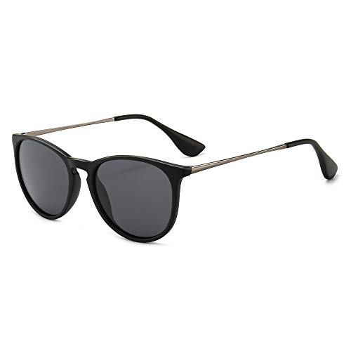SUNGAIT Gafas de Sol Polarizadas Mujer Hombre Retro Redondas Unisex UV400 Proteccion(Marco Negro/Lente Gris)-SGT567