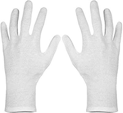 Paxcoo 12 Pairs XL White Cotton Gloves for Dry Hand