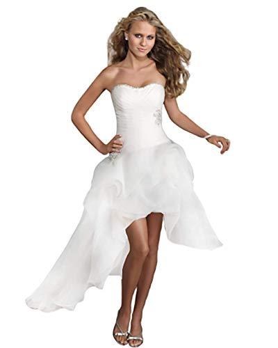 GL SUIT Frauen-trägerlose Brautkleider für die Braut Weg vom Schulter-Long Tail A-Line Weiß Large Size Schatz Brautkleid Abendkleid,Weiß,US:6(M)