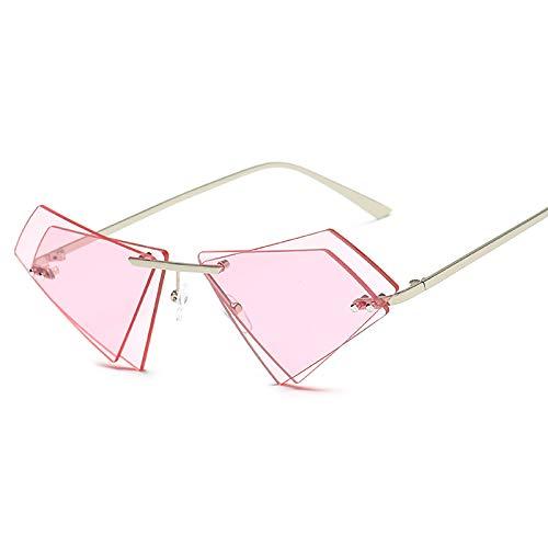 QFSLR Gafas De Sol, Gafas De Sol Triangulares De Doble Capa Sin Montura, Patillas De Metal, Protección UV400,F