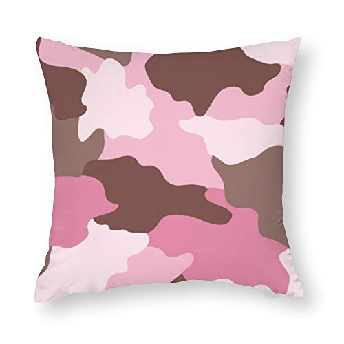 Camouflage Pink Camo Cotton Throw Pillow Covers Case Cushion Pillowcase with Hidden Zipper Closure for Sofa Bench Bed Home Decor 16'x16'