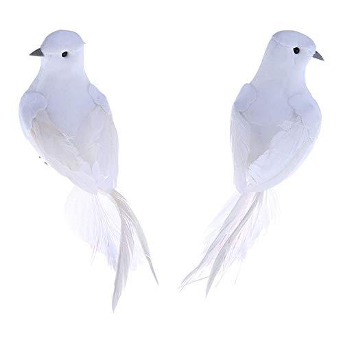 POFET 2 plumas artificiales de espuma blancas, pájaros decorativos, palomas falsos para manualidades, decoración del hogar, jardín, decoración de boda
